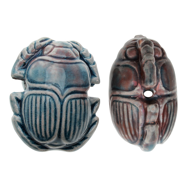 High Fired Glazed Ceramic Bead - Large Scarab 30x24mm - 1 Piece