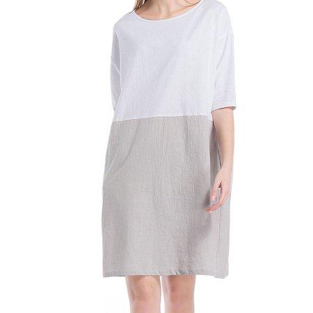 Women Casual Dress Cotton Short Sleeve Linen Retro Plus Size Two-color Stitching Vintage Dress