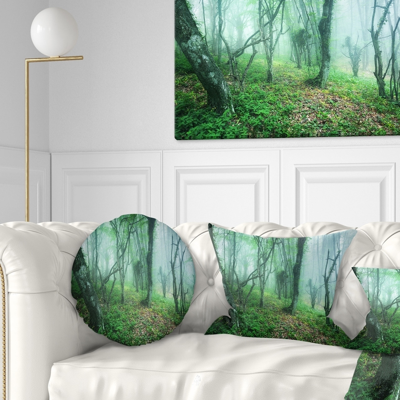 Design Art Designart Trail Through Green Forest Landscape Photography Throw Pillow Walmart Com Walmart Com