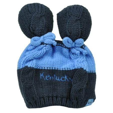 - Kentucky State Infant Striped Knit Beanie Navy Blue Crochet Ear Ball Hat USA