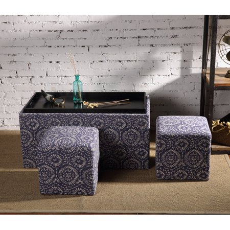 Tremendous Creative Living 3 Piece Storage Bench And Ottoman Set Blue Ncnpc Chair Design For Home Ncnpcorg