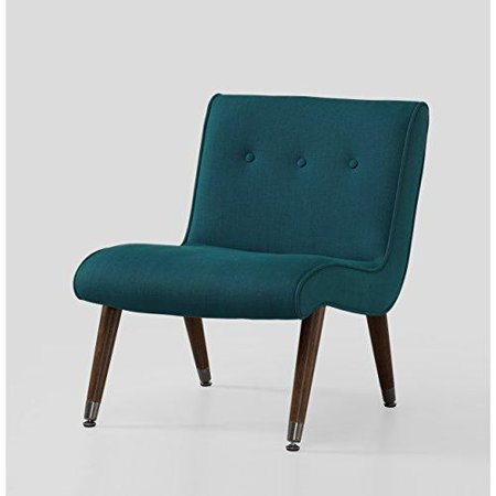 Modhaus Mid Century Accent Chair Teal Upholstery Arm Less Espresso Solid Wood Legs