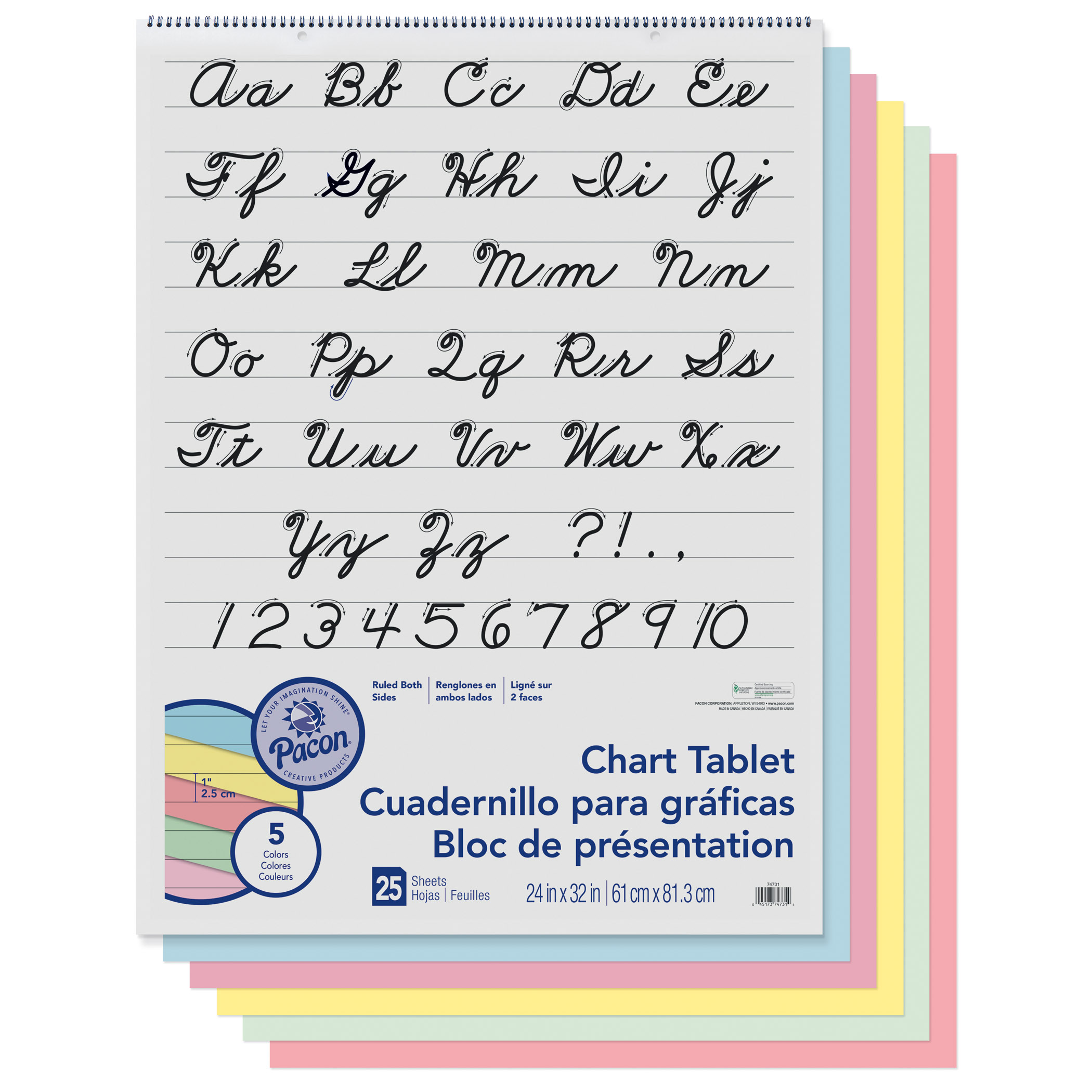 "Pacon Chart Tablet, 1"" Ruled, 24"" x 32"", Assorted Colors, 25 Sheets"