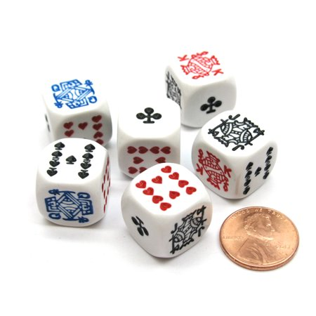 Pack of 6 Opaque 16mm D6 Standard Poker Dice - White 16mm Dice Standard