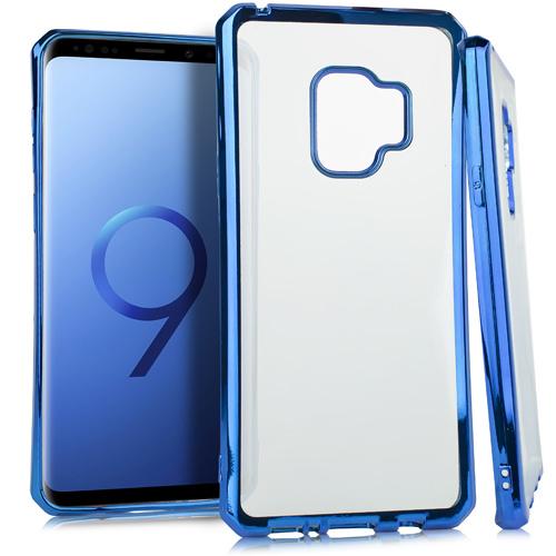 MUNDAZE Blue Metallic Edge Deluxe Candy TPU Case For Samsung Galaxy S9 Phone