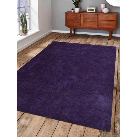 Rugsotic Carpets Hand Knotted Gabbeh Silk 3'x5' Area Rug Solid Purple