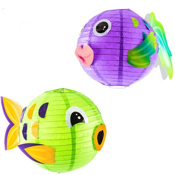 Round Fish Paper Lanterns Decoration Luau Tiki Party Supplies