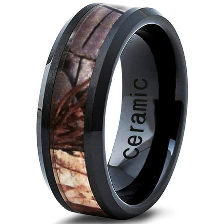 Ceramic Ring 8mm for Men Women Black Hunter Deer Army Ceramic Band Comfort Fit Camo Beveled Edge Brushed Polished Lifetime Guarantee