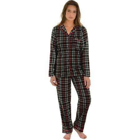 Women Plaid Pajama Set Black Red White Microfleece Top PJ Pants Holiday Set