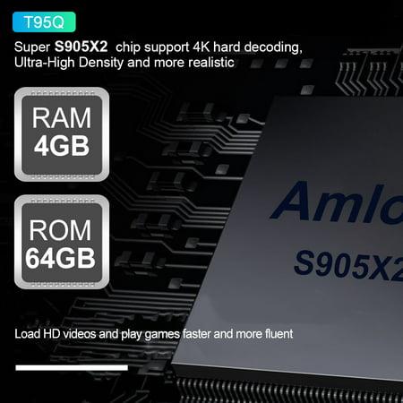 T95Q Android 8.1 Amlogic S905X2 Quad Core 4GB DDR4 64GB EMMC BT4.1 Smart UHD 4K Set Top Box VP9 H.265 2.4G & 5G Dual-band WiFi 1000M USB3.0 LAN HD - image 7 de 7