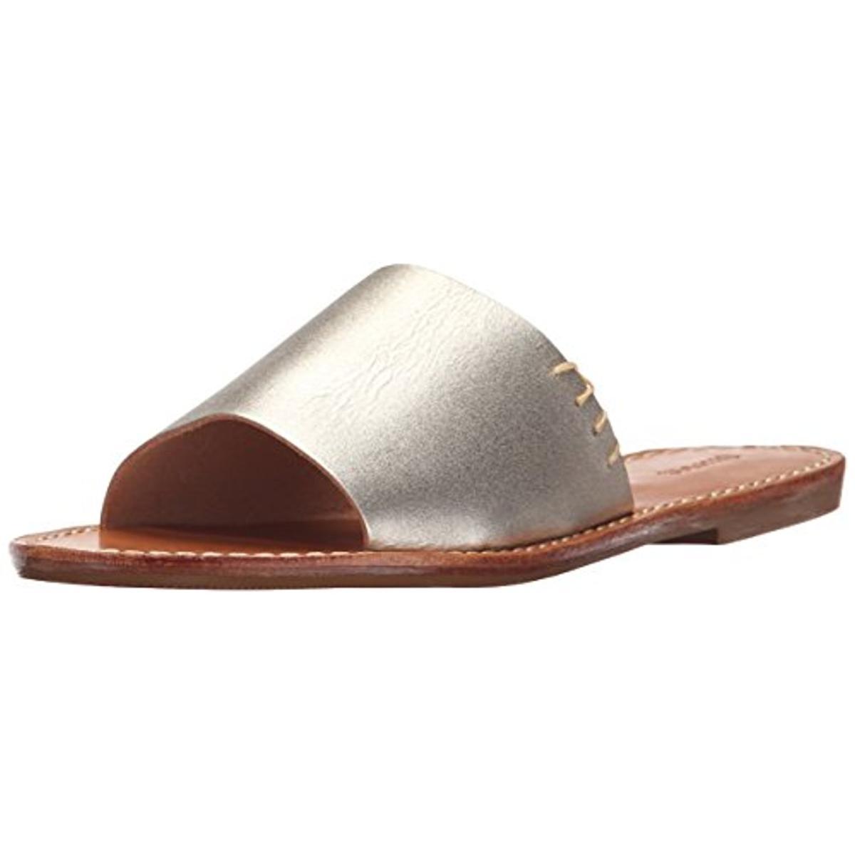 Soludos Womens Leather Shimmer Slide Sandals