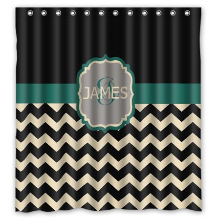Monogram Shower Curtain (HelloDecor Monogram Shower Curtain Polyester Fabric Bathroom Decorative Curtain Size 66x72 Inches)