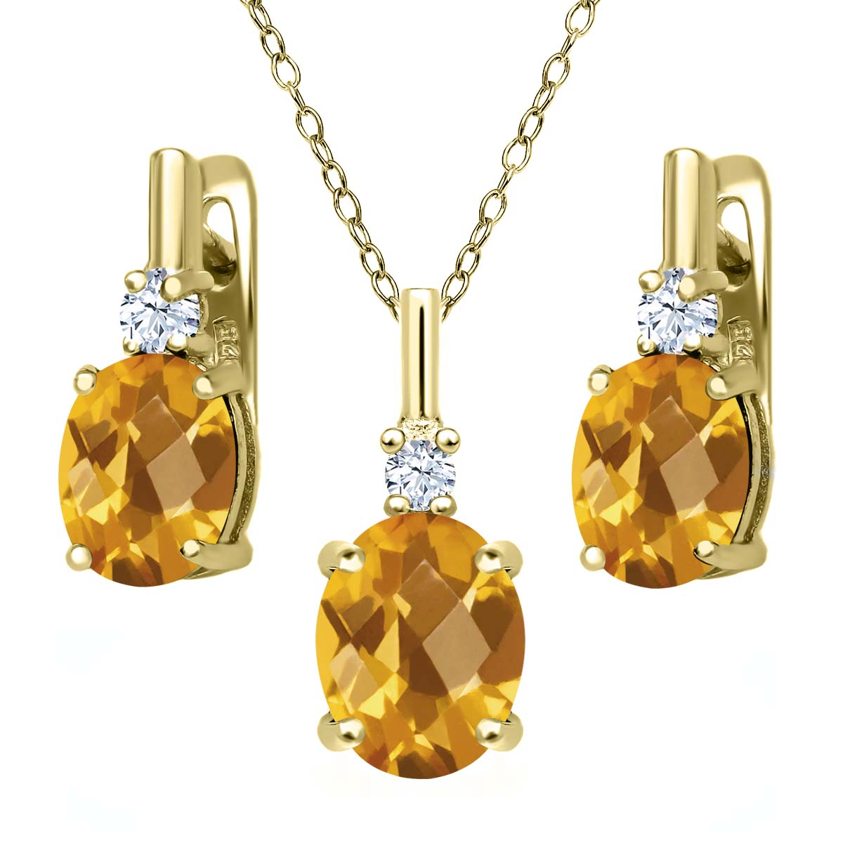 4.85 Ct Oval Checkerboard Yellow Citrine 18K Yellow Gold Plated Silver Pendant Earrings Set by