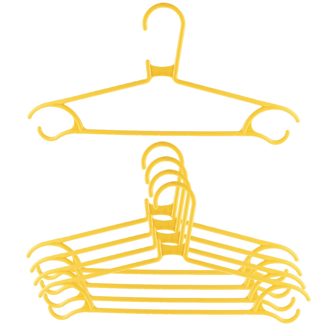 5pcs Household Home Plastic Space Saving Clothes Clothing Hanger Yellow