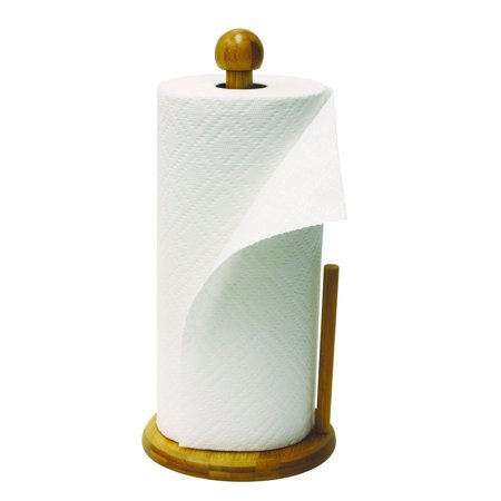 home basics bamboo wood paper free standing countertop towel holder. Black Bedroom Furniture Sets. Home Design Ideas