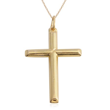 "925 Sterling Silver Cross Chain Pendant Necklace Jewelry Gift for Women 18"" (Yellow/Silver)"