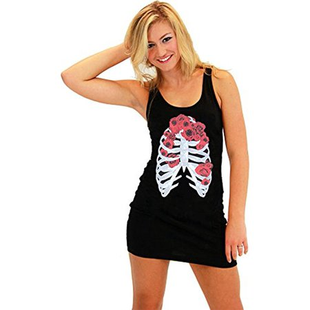Skeleton Flower Juniors Costume Black Tank Dress