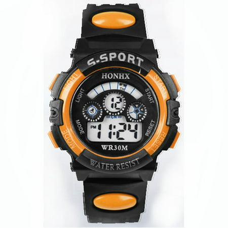 iLH Mallroom Waterproof Children Boy Digital LED Quartz Alarm Date Sports Wrist Watch - Orange Face Watch