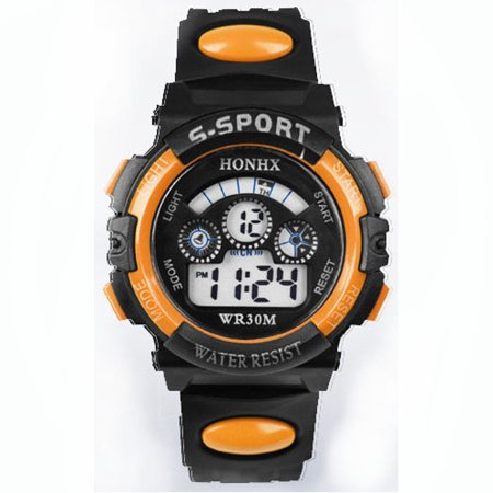 Gold Silver Wrist Watch (iLH Mallroom Waterproof Children Boy Digital LED Quartz Alarm Date Sports Wrist Watch Orange)