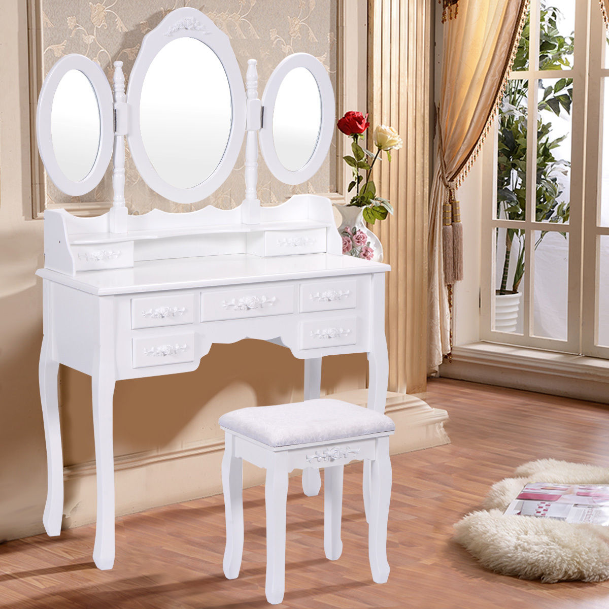 Costway White Tri Folding Oval Mirror Wood Vanity Makeup Table Set with Stool &7 Drawers by Costway