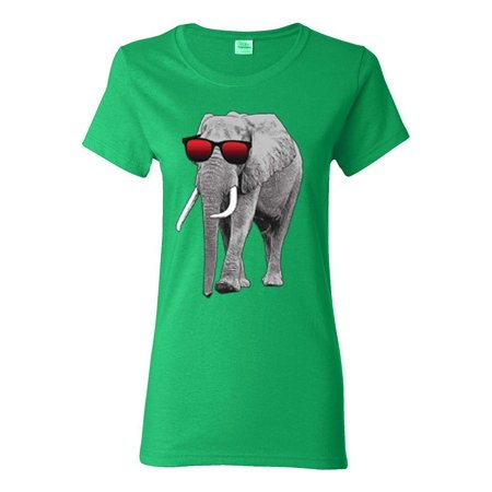 Elephant Wearing Sunglasses Trending Womens Graphic Tees - Elephant Womens Light