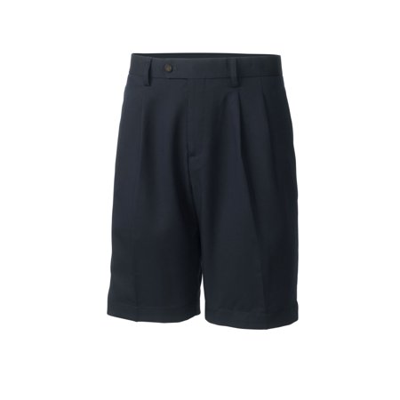 Cutter   Buck Mens Twill Microfiber Pleated Short  Navy Blue   34
