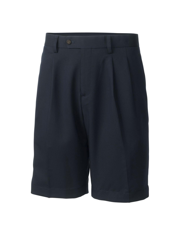 Men's Twill Microfiber Pleated Short, Navy Blue - 34