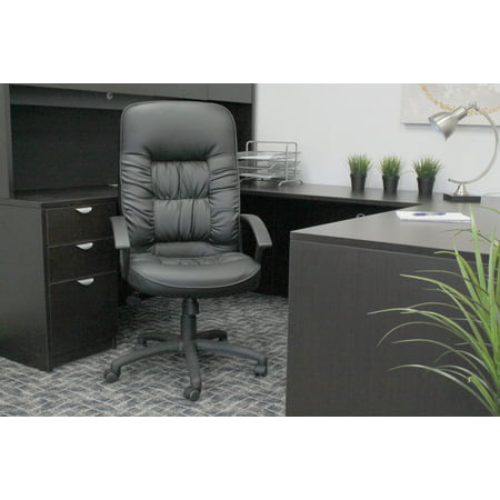 Boss Leather Chair - Boss Office Products Black Leather High Back Task Chair