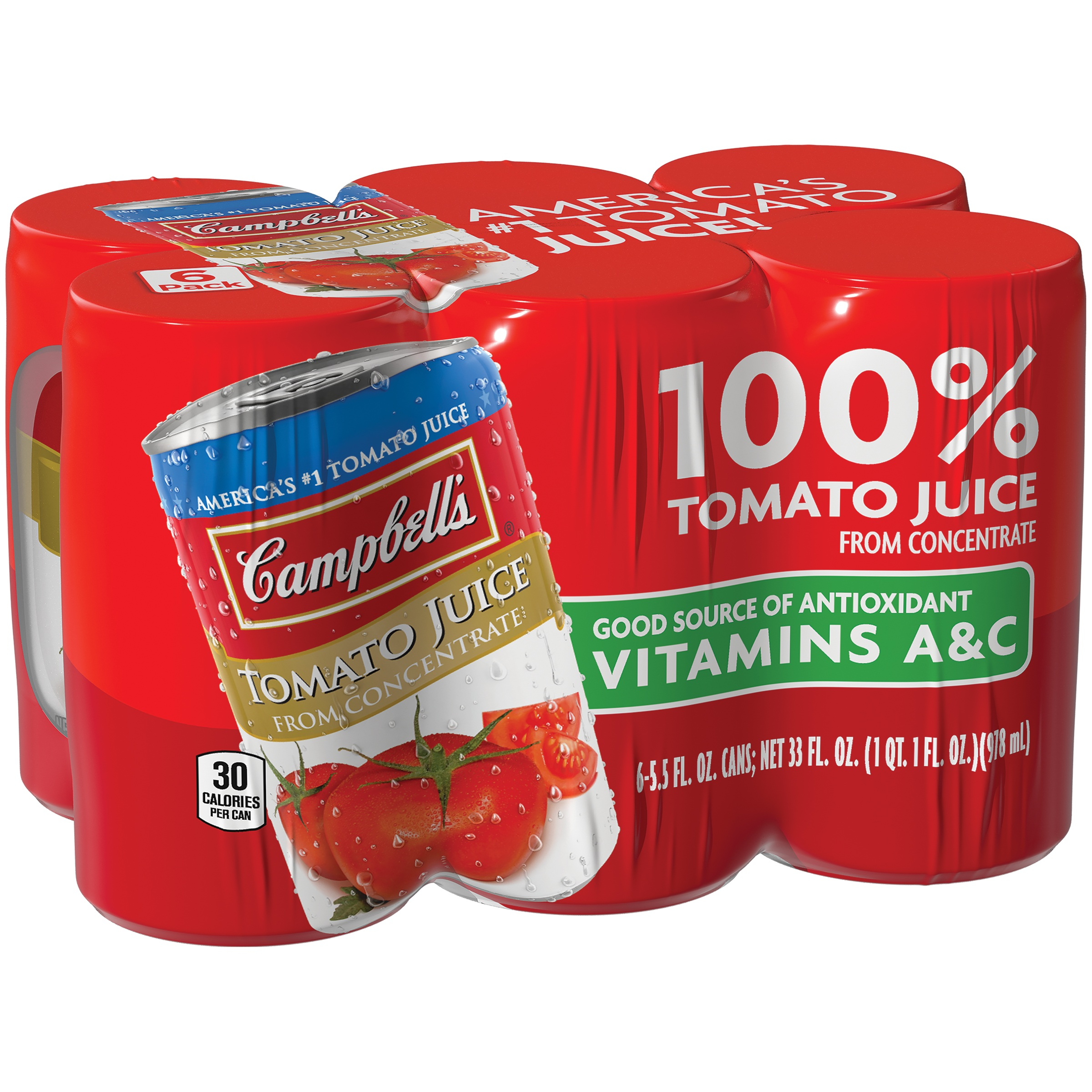 Campbell's 100% Tomato Juice 5.5oz 6 pack by Campbell Soup Company