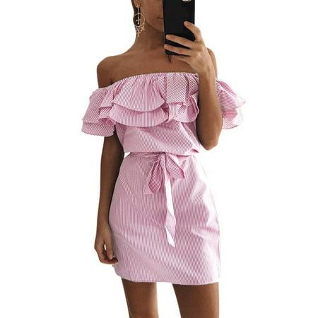 9b2b40af7f EFINNY - EFINNY Women Summer Off Shoulder Sleeveless Dress Ruffles Casual  Evening Party Dresses Asian Size - Walmart.com