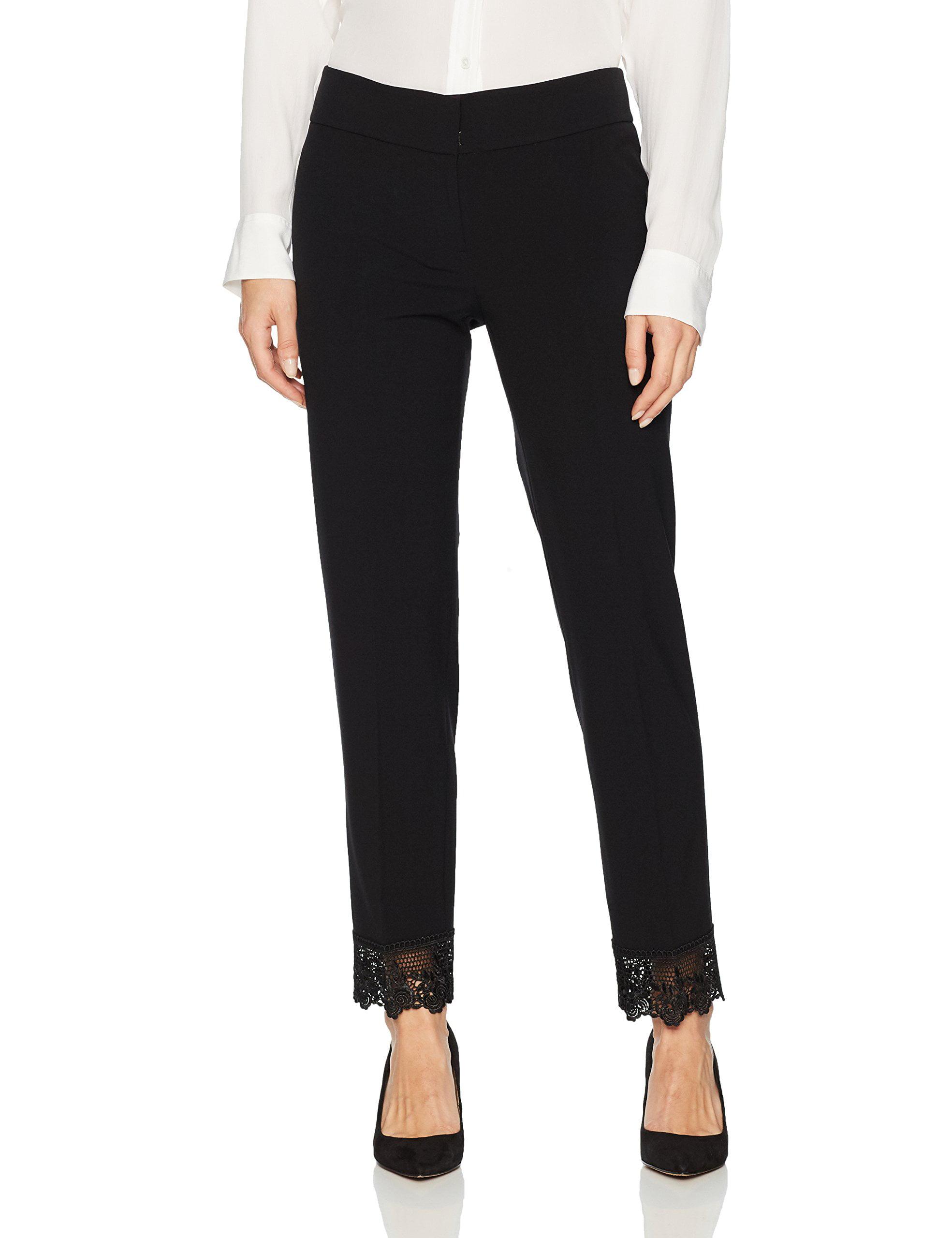 Womens Flat-Front Crochet-Hem Dress Pants 8