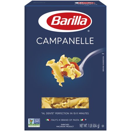 Barilla® Classic Blue Box Pasta Campanelle 16 oz At Barilla, we're passionate about pasta. After all, we have been pasta makers since 1877. As an Italian family-owned food company, Barilla pasta is synonymous with high quality and  al dente  perfection every time. Our Campanelle is made from the finest durum wheat and is non-GMO verified, peanut-free and suitable for a vegan or vegetarian diet. Campanelle means  little bells  in Italian and is quite possibly the most beautiful pasta shape. With its petal-like, ruffled edges, Campanelle is appealing in many pasta dishes. Shaped like flower petals, Campanelle's delicate yet robust pasta cut has a hollow center to help embrace the pasta sauce it is served with.