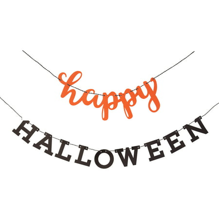 Script Happy Halloween Banner, 7 ft, Orange and Black, 2pc - Banner Halloween