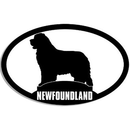 Oval NEWFOUNDLAND Silhouette Sticker Decal (dog breed decal) Size: 3 x 5 inch