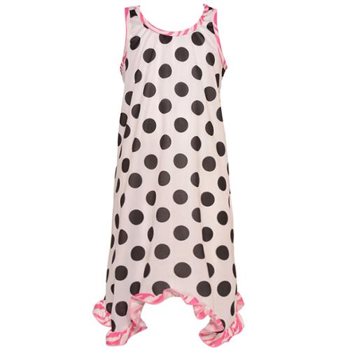 Laura Dare Big Girls Black White Polka Dot Zebra Ruffle Trim Nightgown 7-10