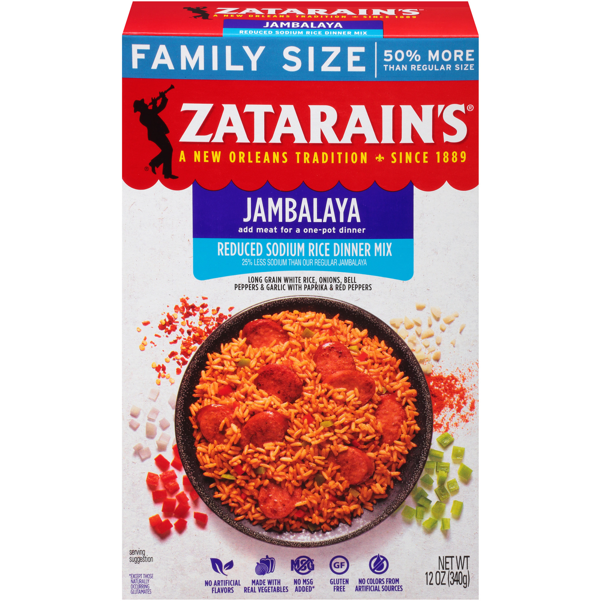Zatarain's Reduced Sodium Jambalaya Rice Dinner Mix, 12 oz