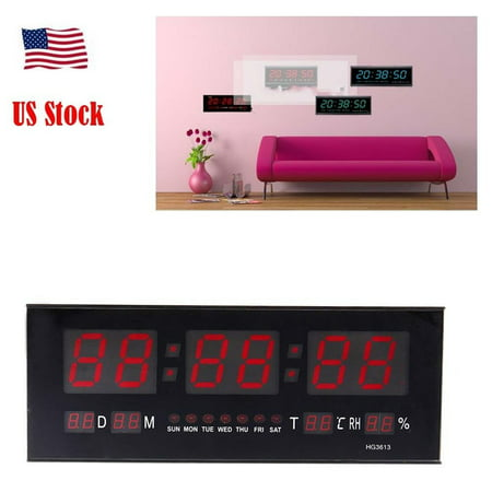 HURRISE Modern LED Alarm Clock Calendar Clock With Thermometer Temperature Display,Red - image 7 de 7