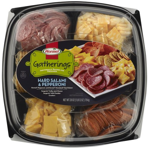 Hormel Pepperoni & Hard Salami with Cheese & Crackers Party Tray, 28 oz