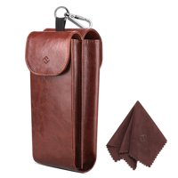 Double Eyeglasses Case, Fintie PU Leather Portable Sunglasses Pouch & Glasses Case w/ Carabiner Hook & 2 Cleaning Cloths