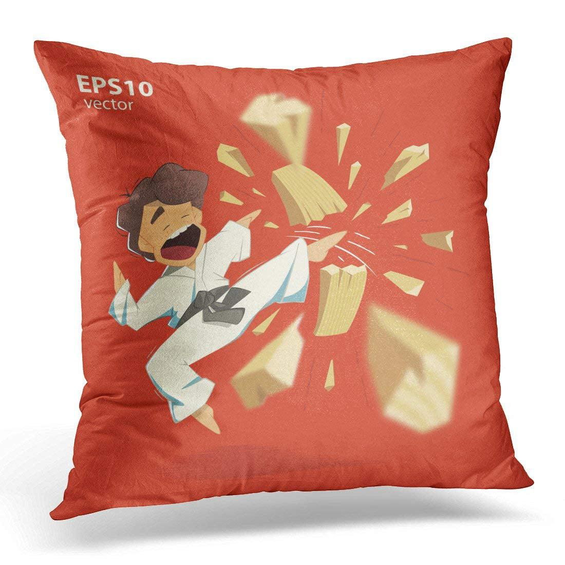 CMFUN Black Wood Cartoon Character Karate Kid Breaking Wooden Board Red Break Pillow Case Pillow Cover 20x20 inch
