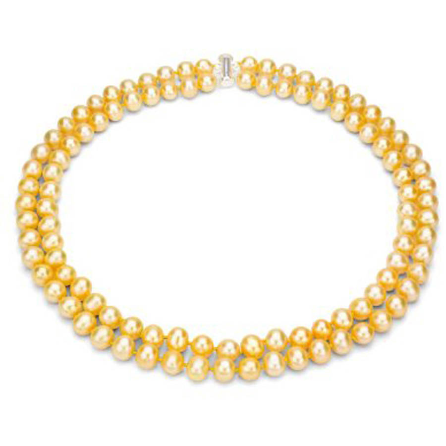 "Image of Golden Freshwater Pearl Necklace for Women, Sterling Silver 2 Row 17"" & 18"", 8mm x 9mm"