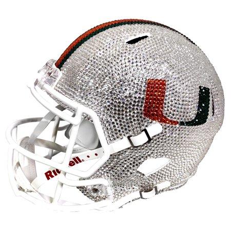 Miami Hurricanes Swarovski Crystal Large Football Helmet - No (Miami Hurricanes Round Crystal)