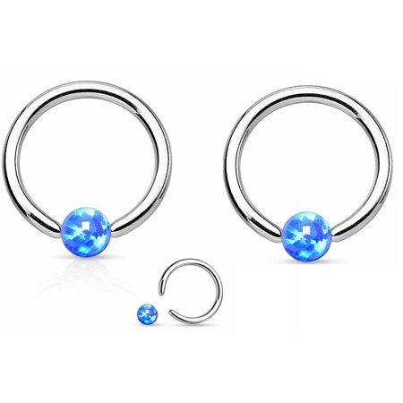 Eyebrow Captive Bead Ring (Eyebrow Synthetic Opal Ball 316L Surgical Steel Captive Bead Ring)