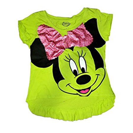 [P] Disney Girls' Minnie Mouse Sequin Bow Ruffle Youth Tee Shirt (Disney Girls Shorts)