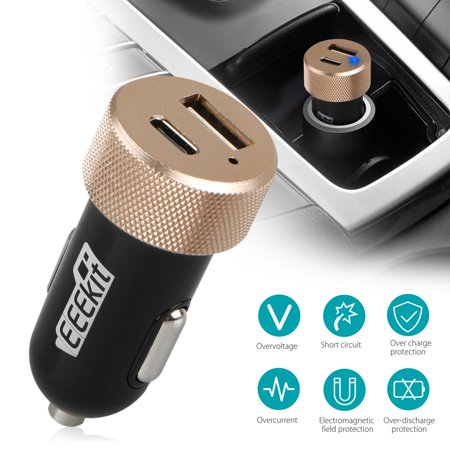 EEEKit USB C Car Charger Adapter w/ Type C and USB A Port for OnePlus  4/5/6/6T, LG G7/G6/G5/V40/V35, Nexus 5X/6P, HTC 10,Google Pixel 3/3XL,  Samsung