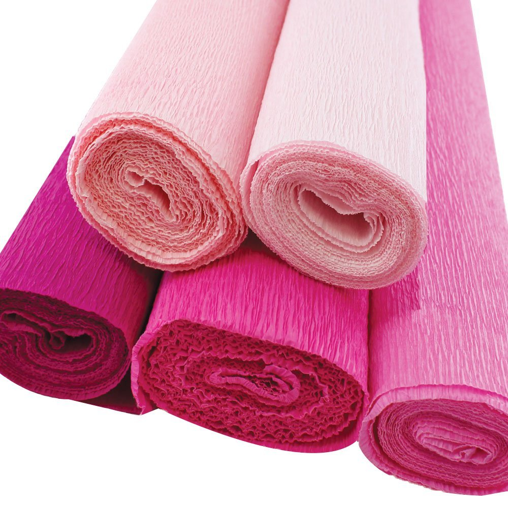 Just Artifacts Premium Crepe Paper Rolls - 8ft Length/20in Width (5pcs, Color: Shades of Pink)