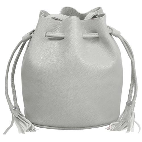 BMC Womens Gray Textured Faux Leather Drawstring Style Cinch Sack Mini Handbag