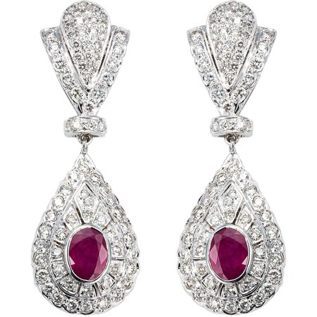 18k White Gold 4ct Tdw Diamond And Rubies Estate Earrings G H Si1 Si2