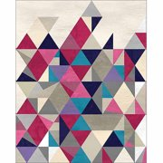 Trendy Triangle Textured Contemporary Modern Abstract Painting Pink & Grey Canvas Art by Pied Piper Creative