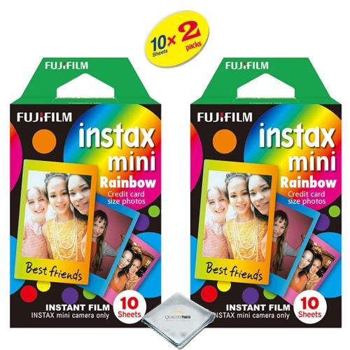 fujifilm instax mini 8 instant film 2-PACK (20 Sheets) Rainbow